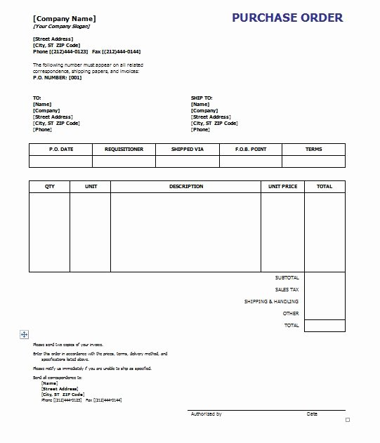 Purchase order Templates Word Inspirational Purchase order Template 8 Free Excel Word Template