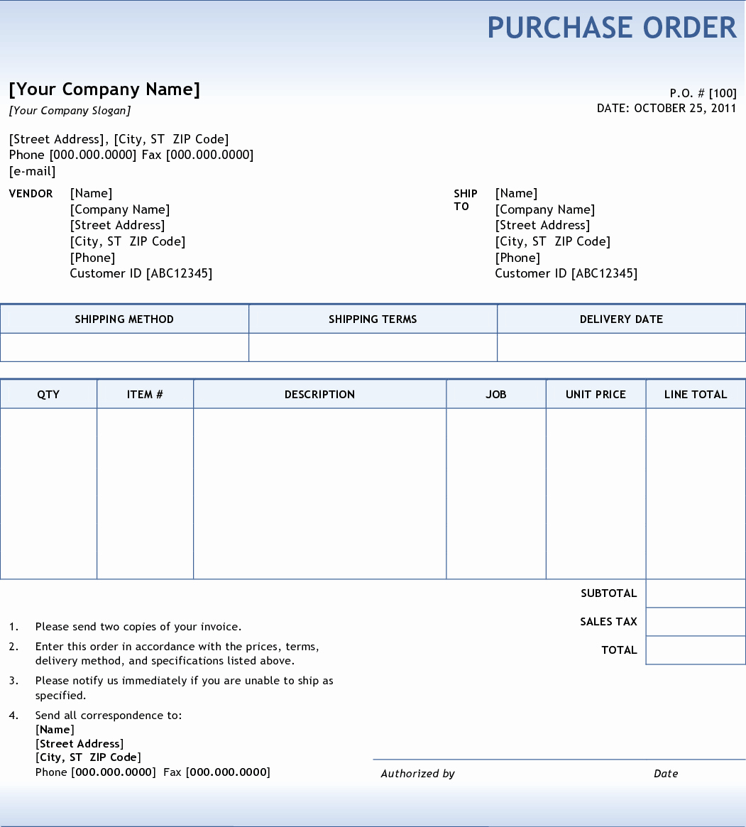 Purchase order Templates Word Lovely 5 Purchase order Templates Excel Pdf formats