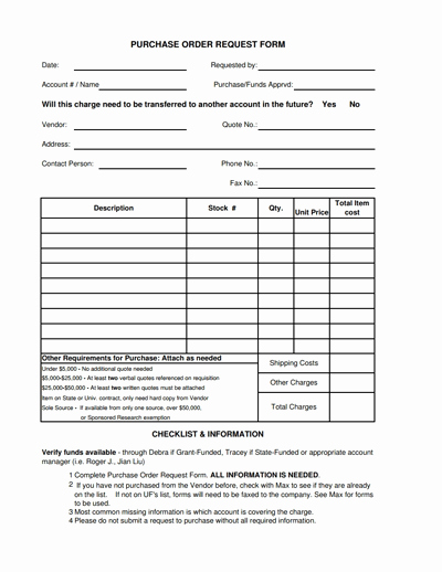 Purchase Requisition form Template Unique Purchase order Request form Template Free Download Edit
