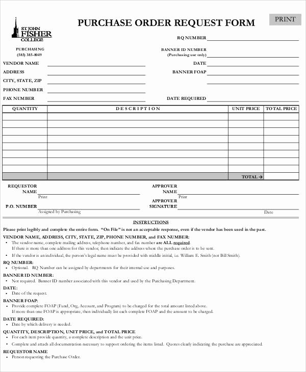 Purchasing Request form Template Inspirational Sample Purchase order Request form 8 Examples In Word Pdf