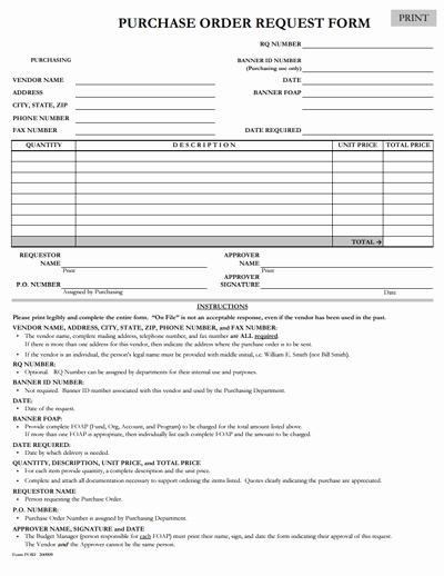 Purchasing Request form Template Unique Purchase order Request form Template Free Download Edit
