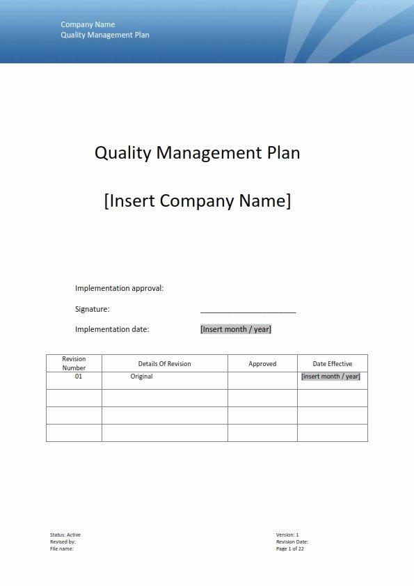 Quality Management Plan Templates Beautiful Quality Management Template