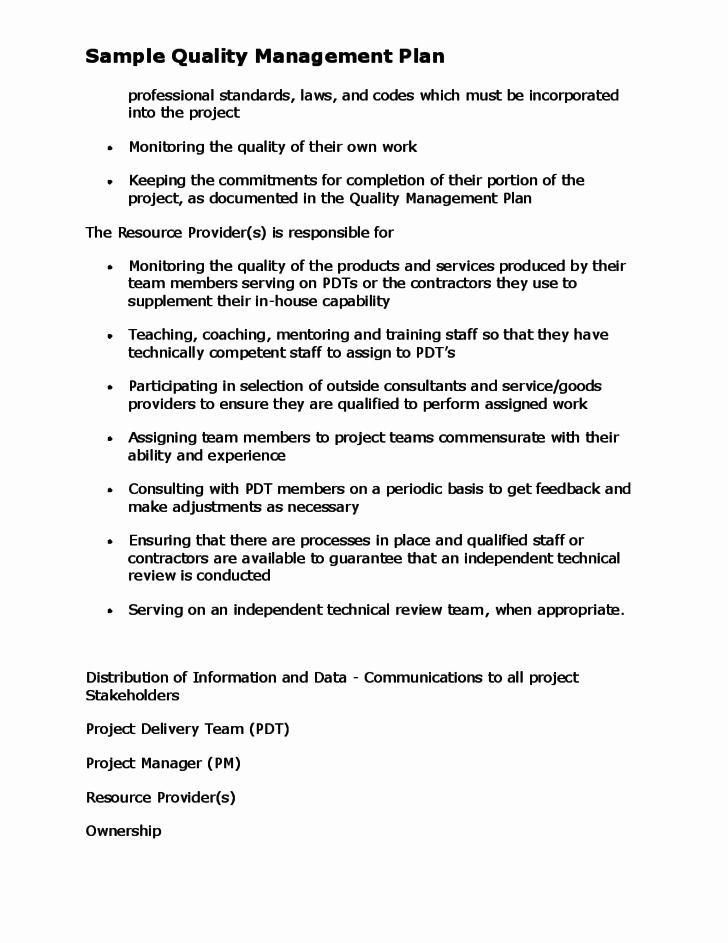 Quality Management Plan Templates Beautiful Sample Quality Management Plan Free Download