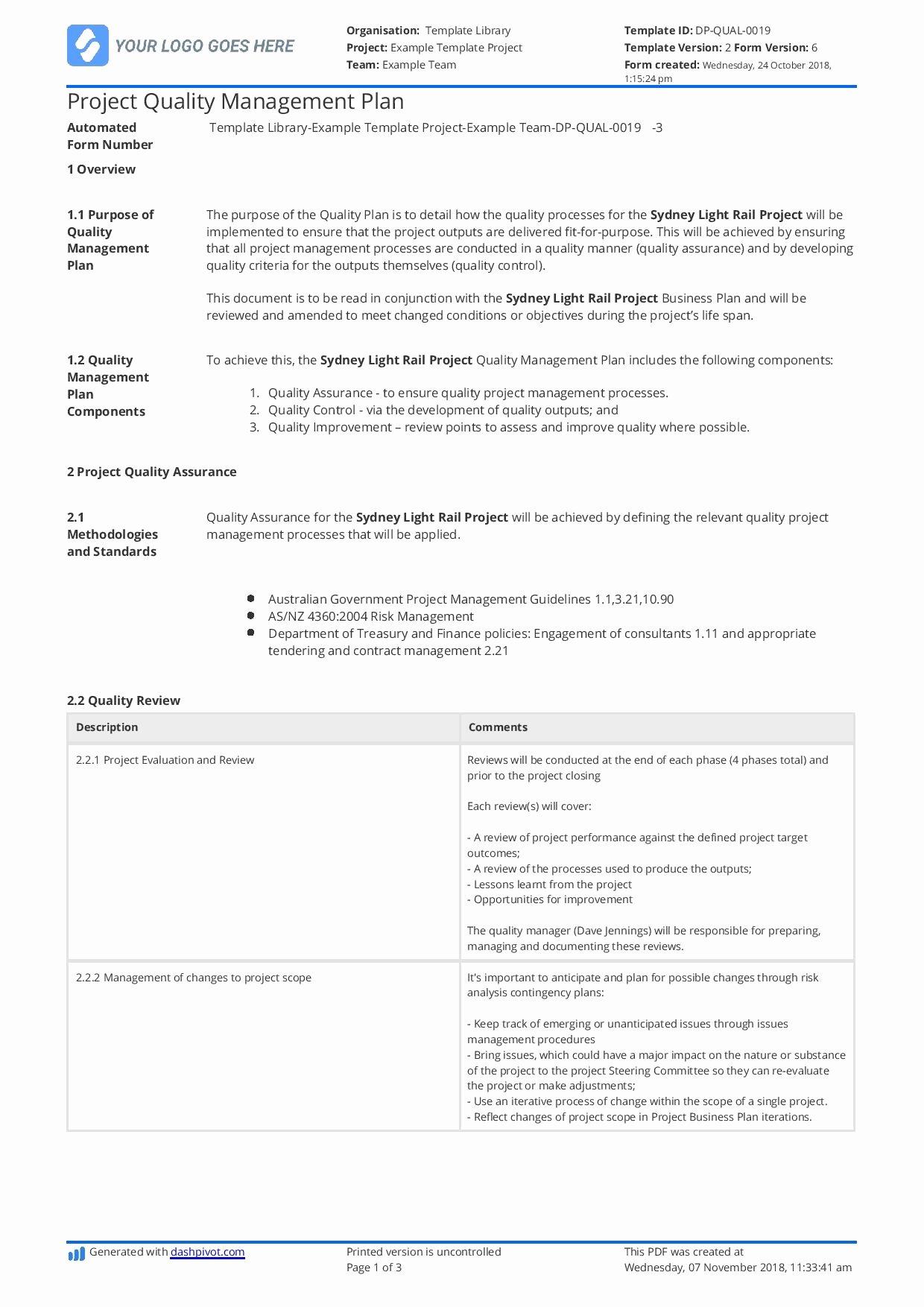 Quality Management Plan Templates Inspirational Construction Quality Management Plan [free and