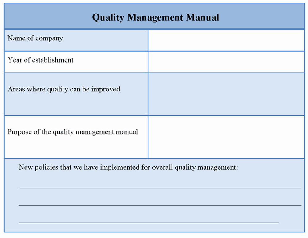 Quality Management Plan Templates Lovely Manual Template for Quality Management Example Of Quality