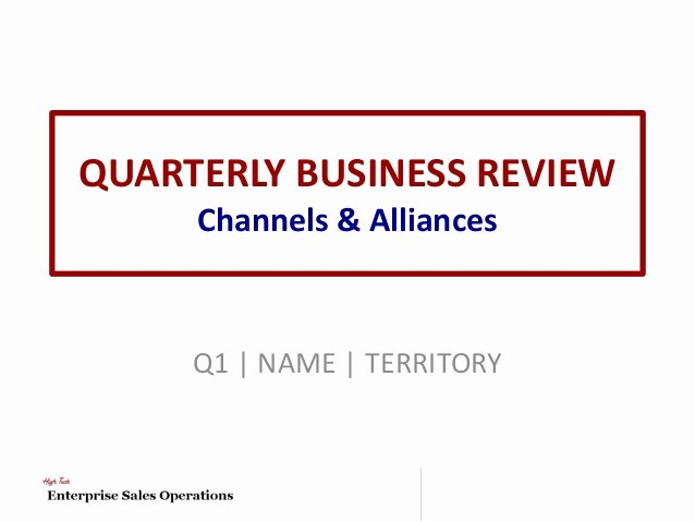 Quarterly Business Review Templates Awesome Channel & Alliances Quarterly Business Review Template