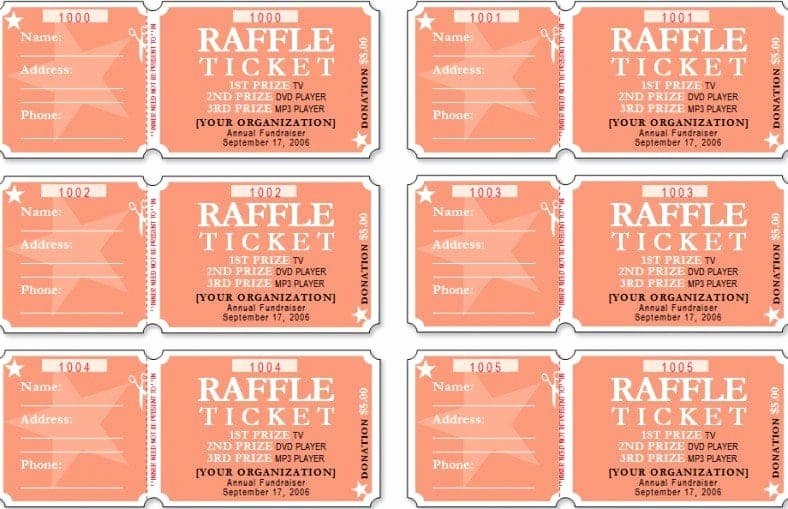 Raffle Ticket Template Excel Beautiful Sample Templates Free formats Excel Word