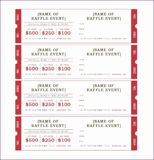 Raffle Ticket Template Excel New 10 Raffle Ticket Template Excel Exceltemplates