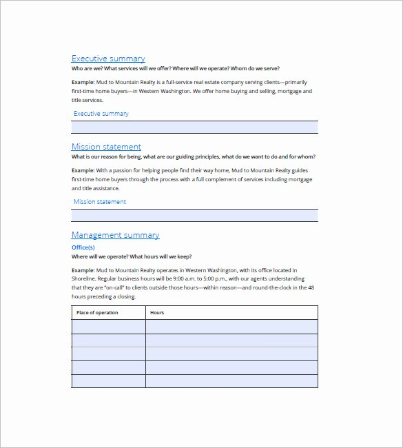 Real Estate Business Plan Template Lovely Real Estate Business Plan Template 16 Free Word Excel