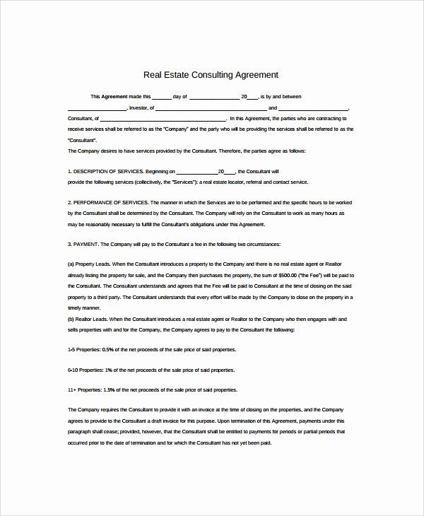 Real Estate Contract Template Awesome Sample Real Estate Consulting Agreement Templates 9