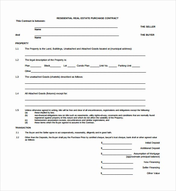Real Estate Contract Template Best Of Real Estate Contract Template 14 Download Free