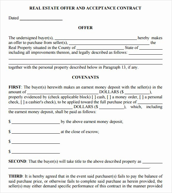 Real Estate Contract Template Inspirational Sample Real Estate Purchase Agreement 7 Examples format