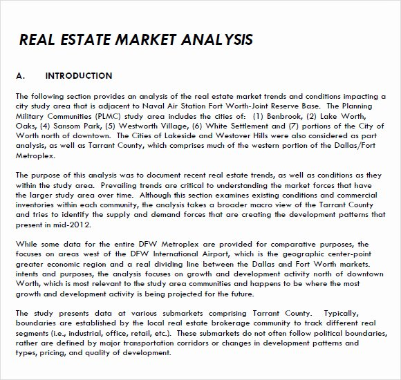 Real Estate Market Analysis Template Awesome Sample Real Estate Market Analysis 8 Examples format