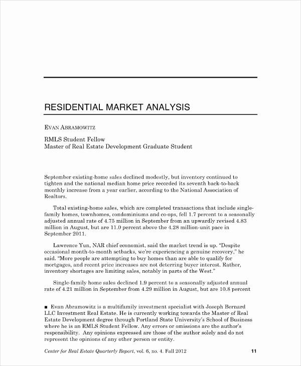 Real Estate Market Analysis Template Elegant 11 Real Estate Market Analysis Templates Pdf Word