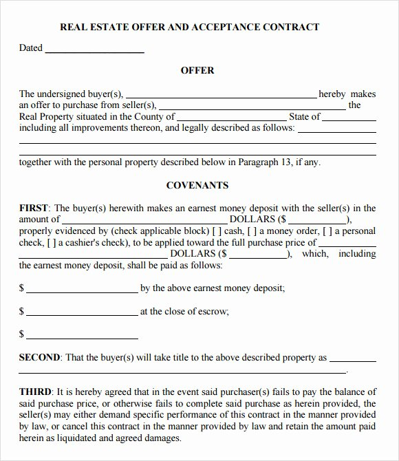 Real Estate Offer Letter Template Luxury Free 9 Sample Fer to Purchase Real Estate forms In Pdf