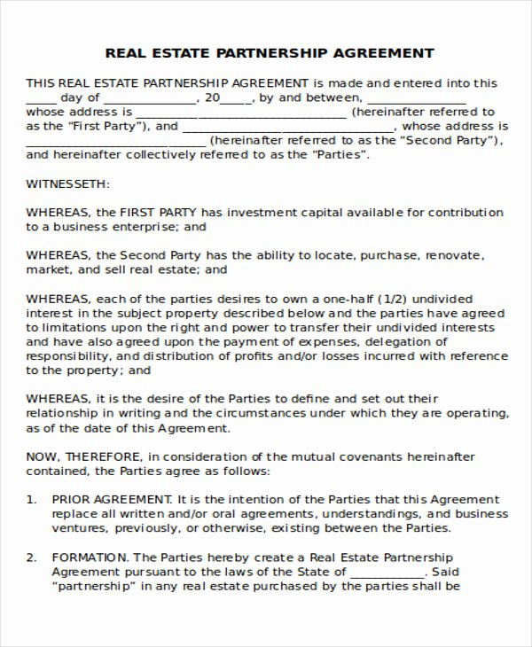 Real Estate Partnership Agreement Template Best Of 44 Agreement Templates In Word