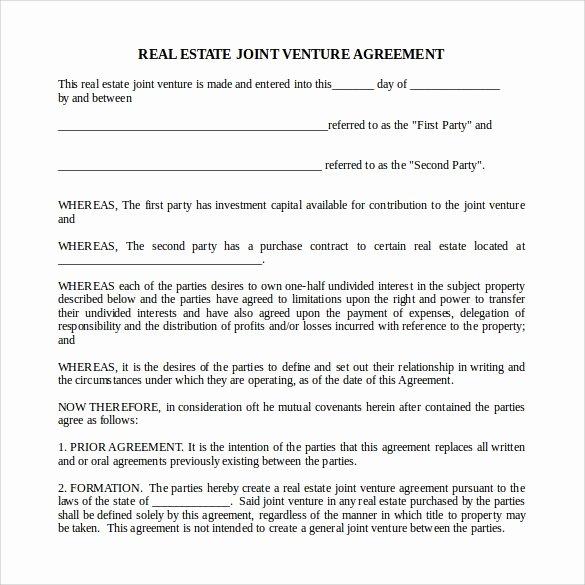 Real Estate Partnership Agreement Template Fresh Sample Real Estate Partnership Agreement 13 Free