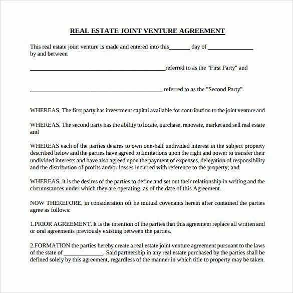 Real Estate Partnership Agreement Template Inspirational Sample Real Estate Partnership Agreement 13 Free