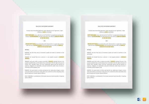 Real Estate Partnership Agreement Template Lovely 6 Real Estate Partnership Agreement Templates Pdf Word