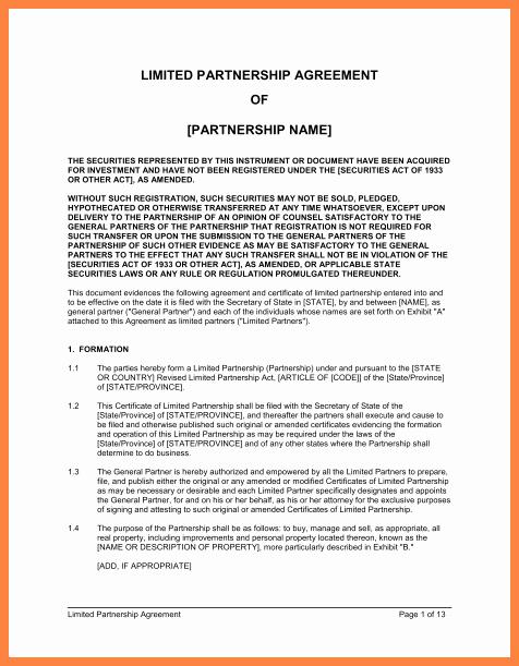 Real Estate Partnership Agreement Template Luxury 8 Real Estate Partnership Agreement Template