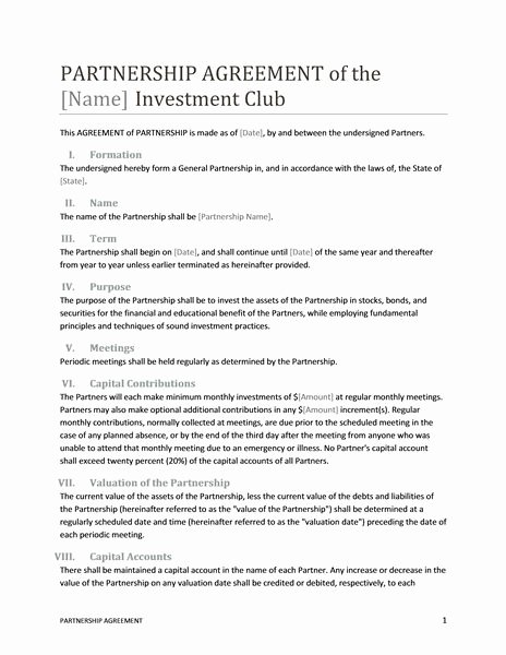 Real Estate Partnership Agreement Template Luxury Printable Sample Partnership Agreement Template form