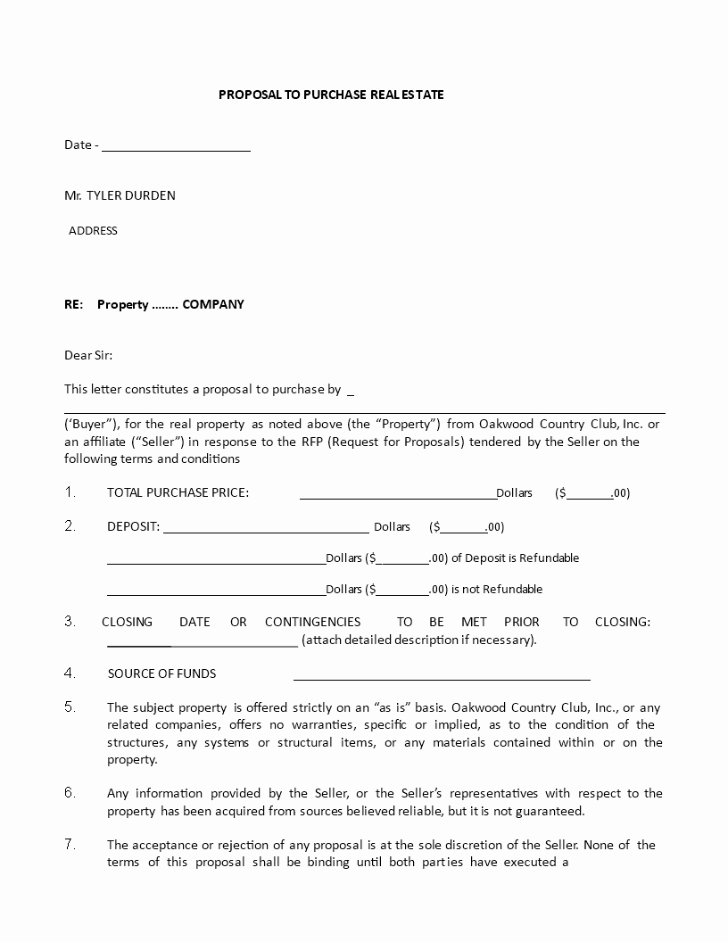 Real Estate Proposal Template Inspirational Proposal to Purchase Real Estate