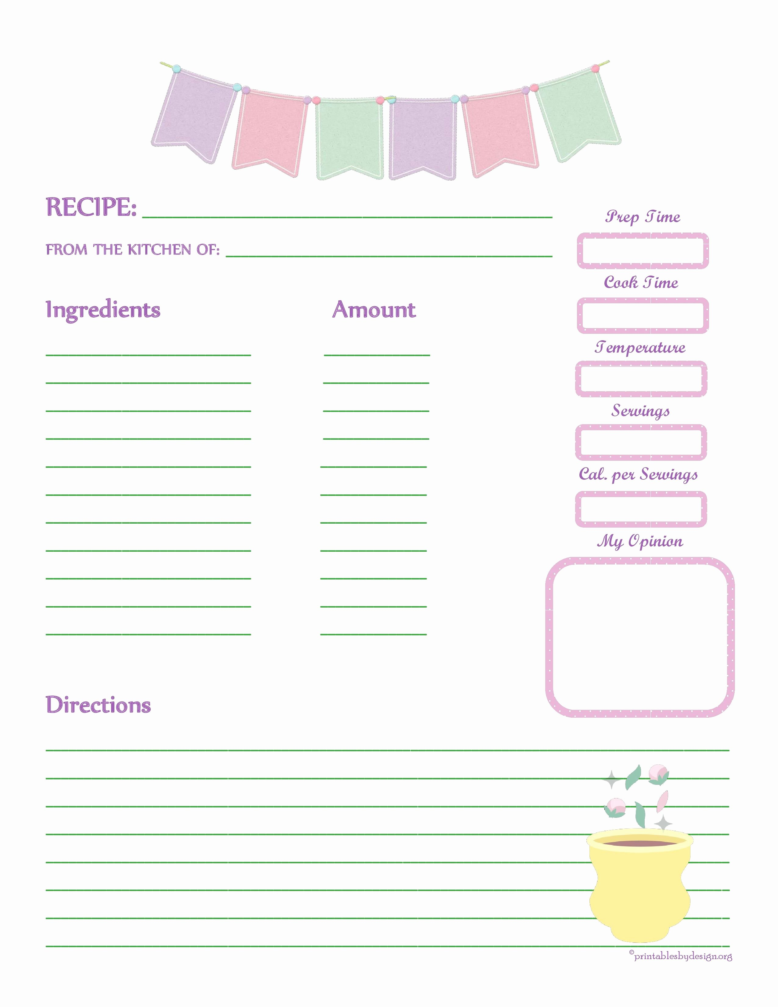 Recipe Card Template for Pages Awesome Fabric Bunting Recipe Card Full Page