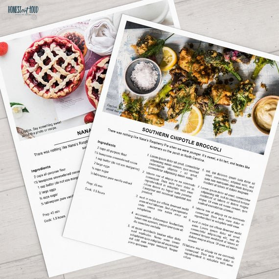 Recipe Card Template for Pages Beautiful Printable Recipe Template 8 5x11 Shop Instant Download