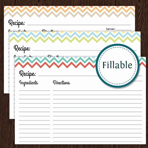 Recipe Card Template for Pages Fresh Recipe Card Colourful Chevron Fillable 4x6 Recipe Card