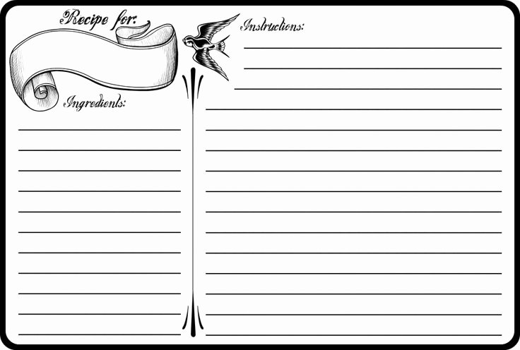 Recipe Card Template for Pages Lovely Classic Tattoo 4x6 Recipe Card Free Printable