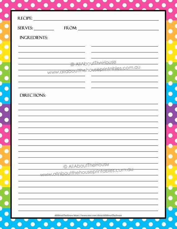Recipe Card Template for Pages Lovely Editable Printable Recipe Card Template Pdf Sheet