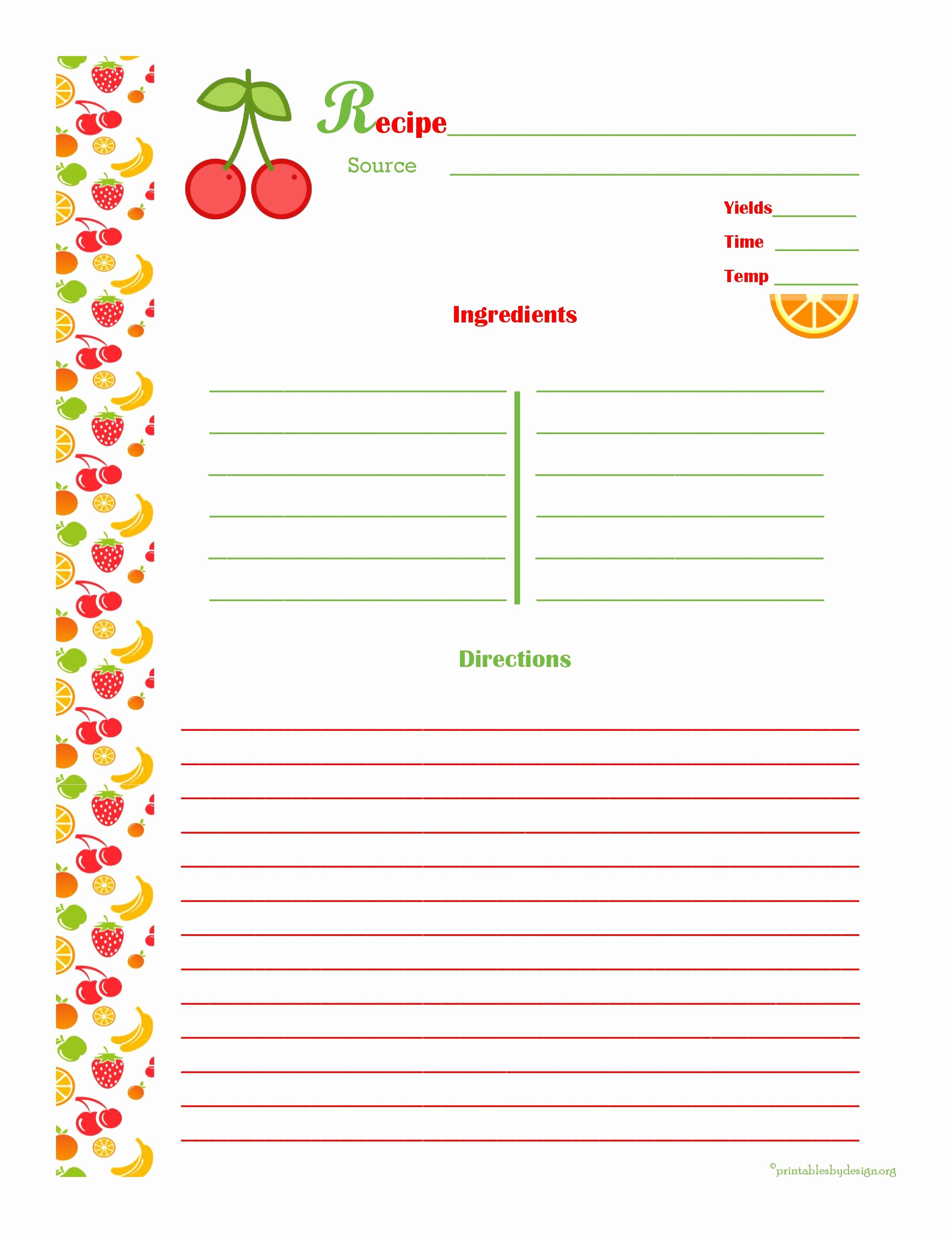 Recipe Card Template for Pages Luxury Cherry & orange Recipe Card Full Page