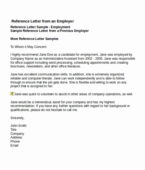Recommendation Letter Template for Job Elegant 4 Job Reference Letter Templates