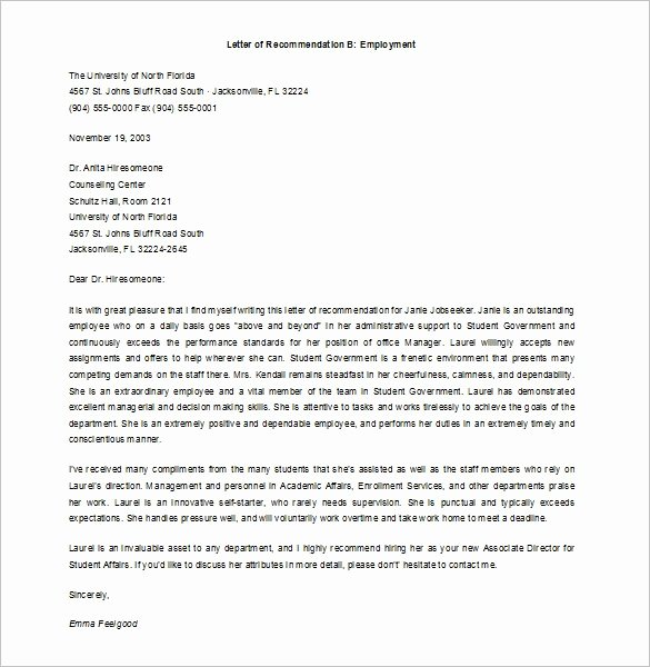 Recommendation Letter Template for Job Elegant Job Re Mendation Letter Templates 15 Sample Examples