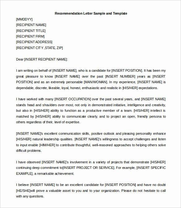 Recommendation Letter Template for Job Lovely 30 Re Mendation Letter Templates Pdf Doc