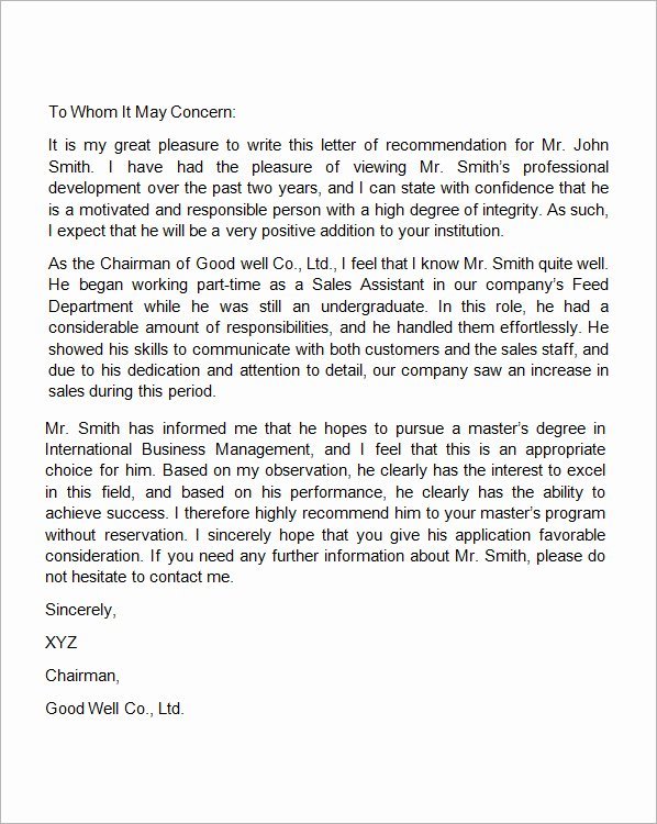 Recommendation Letter Template for Job New Free Sample Letters format Examples and Templates