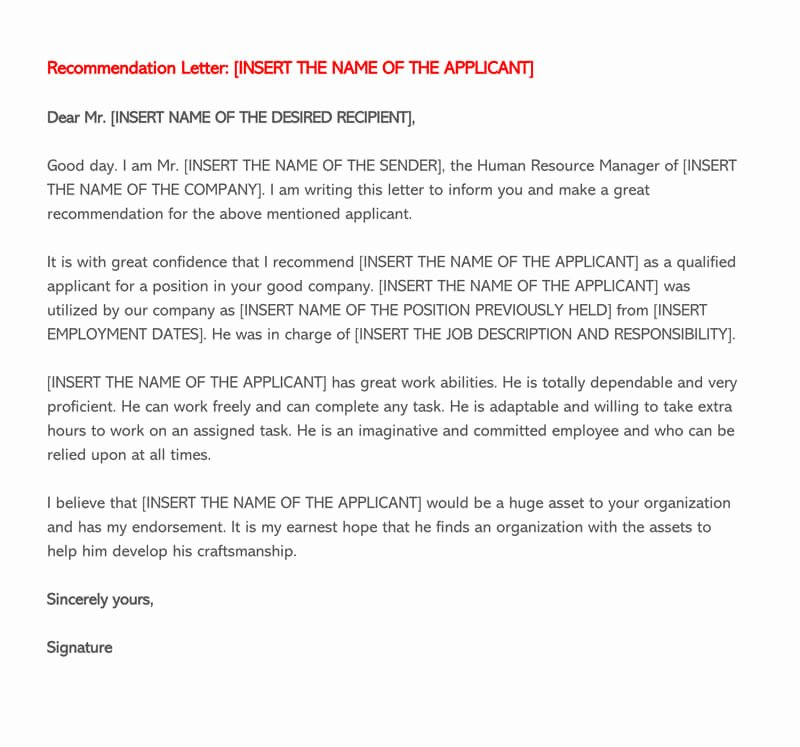 Recommendation Letter Template for Job New Re Mendation Letter for Employment 30 Sample Letters