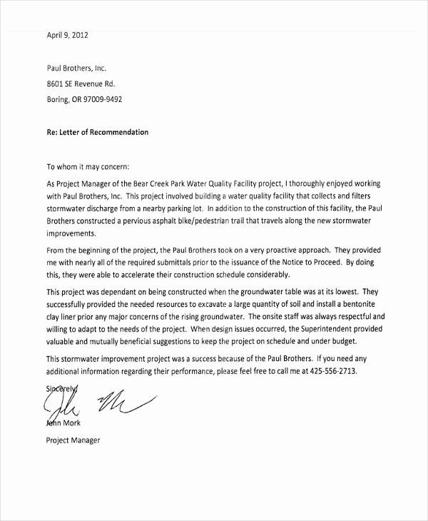 Recommendation Letter Template for Job Unique 10 Employee Re Mendation Letter Template 10 Free