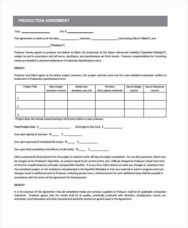 Recording Studio Contract Template Awesome 10 Production Contract Templates Sample Example