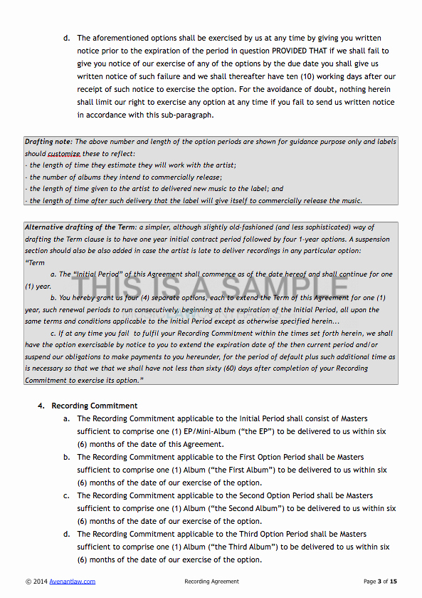 Recording Studio Contract Template Awesome Exclusive Recording Contract Template