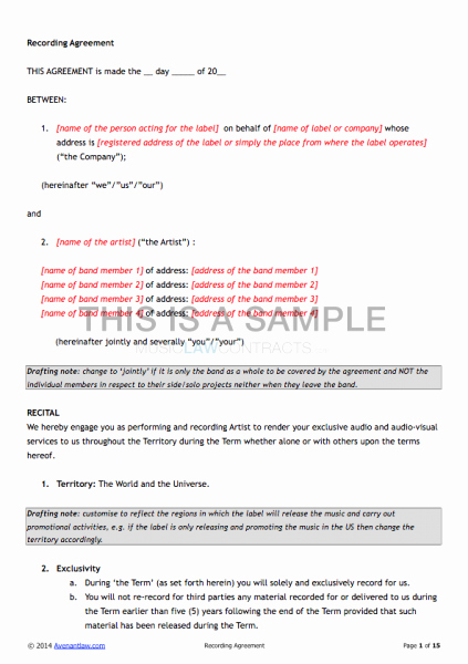 Recording Studio Contract Template Lovely Exclusive Recording Contract Template