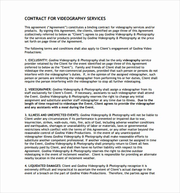 Recording Studio Contract Template Lovely Videography Contract