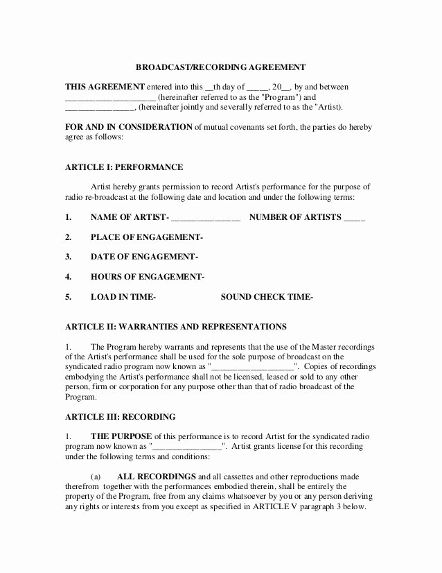 Recording Studio Contract Template Unique Broadcast Recording Contract