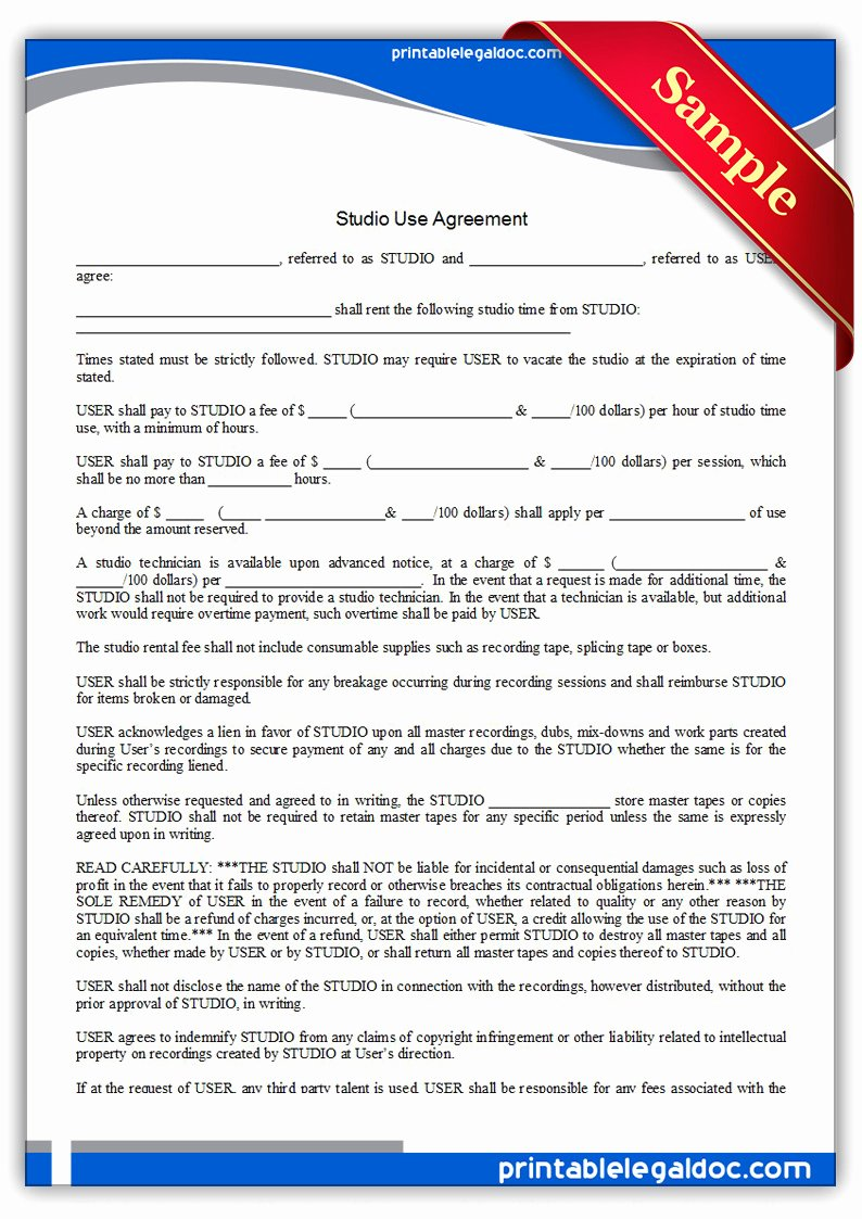 Recording Studio Contract Template Unique Free Printable Studio Use Agreement form Generic