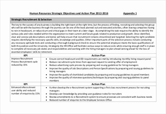 Recruitment Action Plan Template Elegant Hr Strategy Template 31 Word Pdf Documents Download