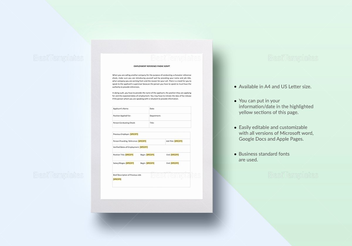 Reference Check Email Template New Reference Check Script Template In Word Google Docs