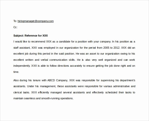 Reference Check Email Template Unique Sample Email Reference Letter Template 6 Free Documents