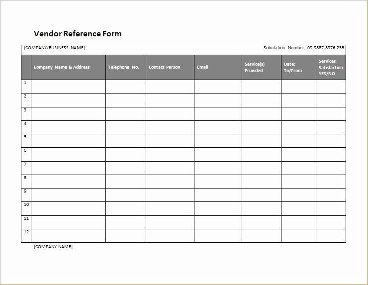 Reference Check form Template Awesome Vendor Reference form Template for Word
