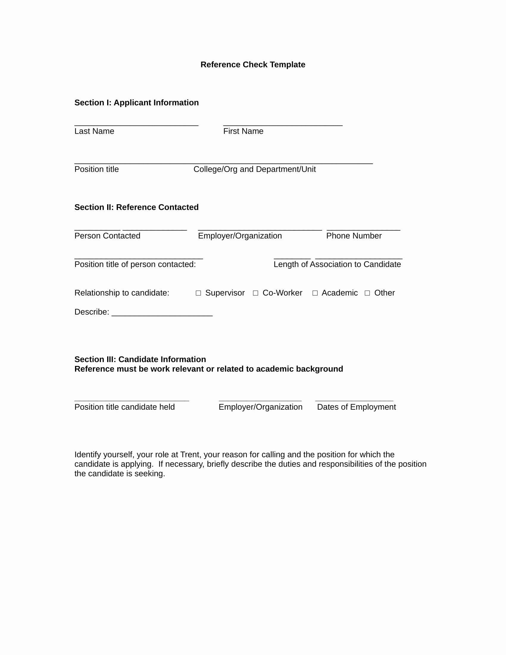 Reference Check form Template Best Of 11 Reference Checking forms & Templates Pdf Doc