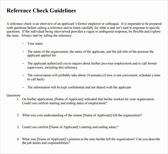 Reference Check form Template Best Of Sample Reference Check 9 Examples format